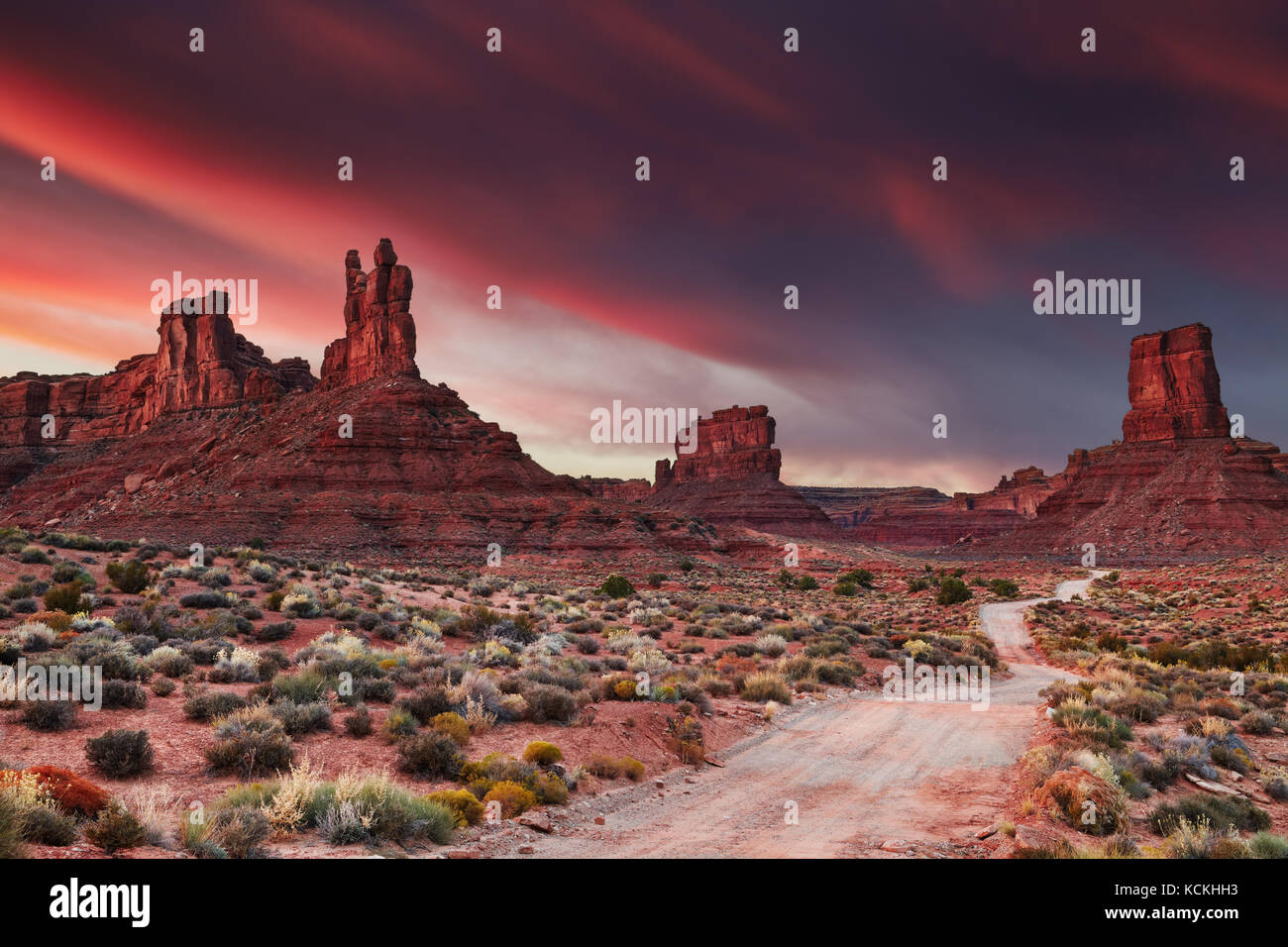 Valley of the Gods at sunset, Utah, USA - Stock Image