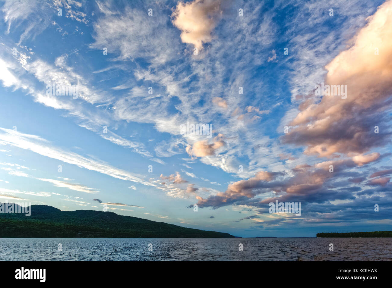 Dramatic sky with clouds pattern at Lake Champlain - Stock Image
