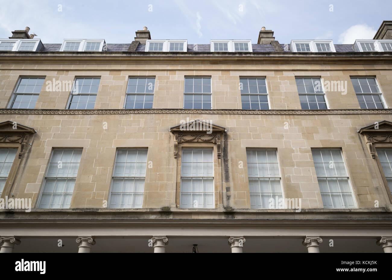 Detail of Georgian terrace in Bath Street, Bath, UK - Stock Image