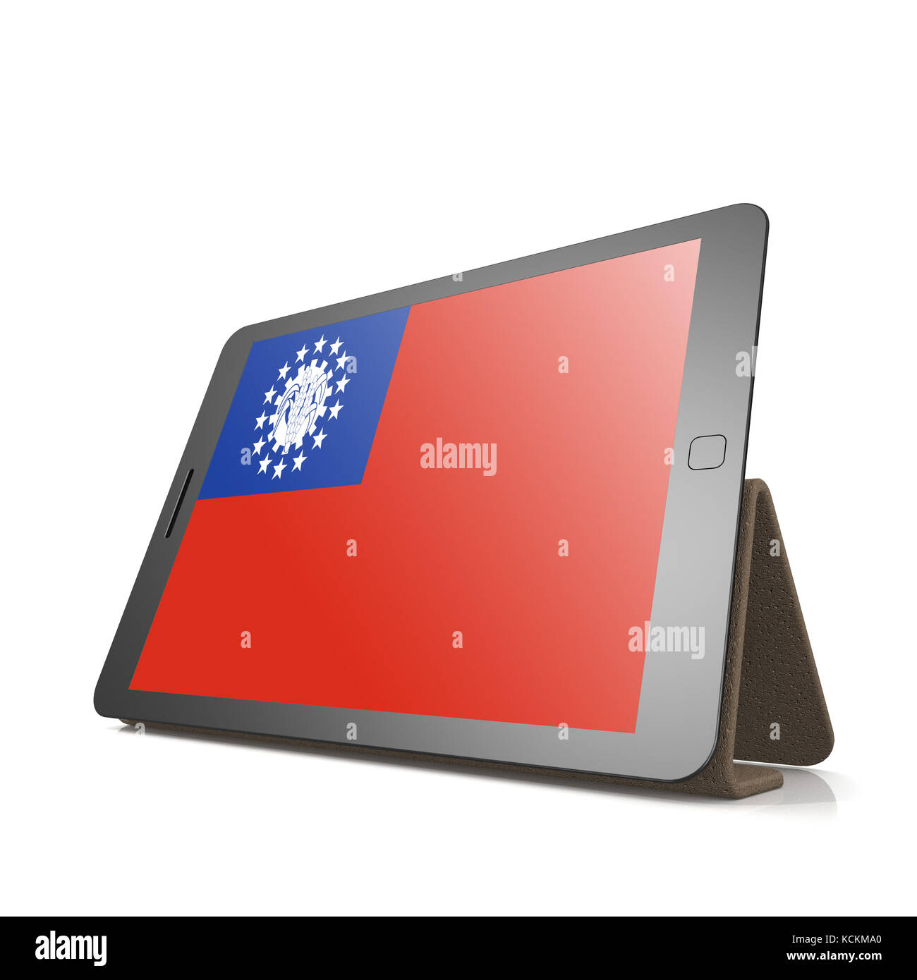 Tablet with Myanmar flag image with hi-res rendered artwork that could be used for any graphic design. - Stock Image