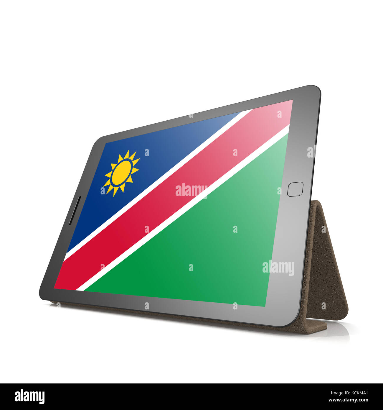Tablet with Namibia flag image with hi-res rendered artwork that could be used for any graphic design. - Stock Image