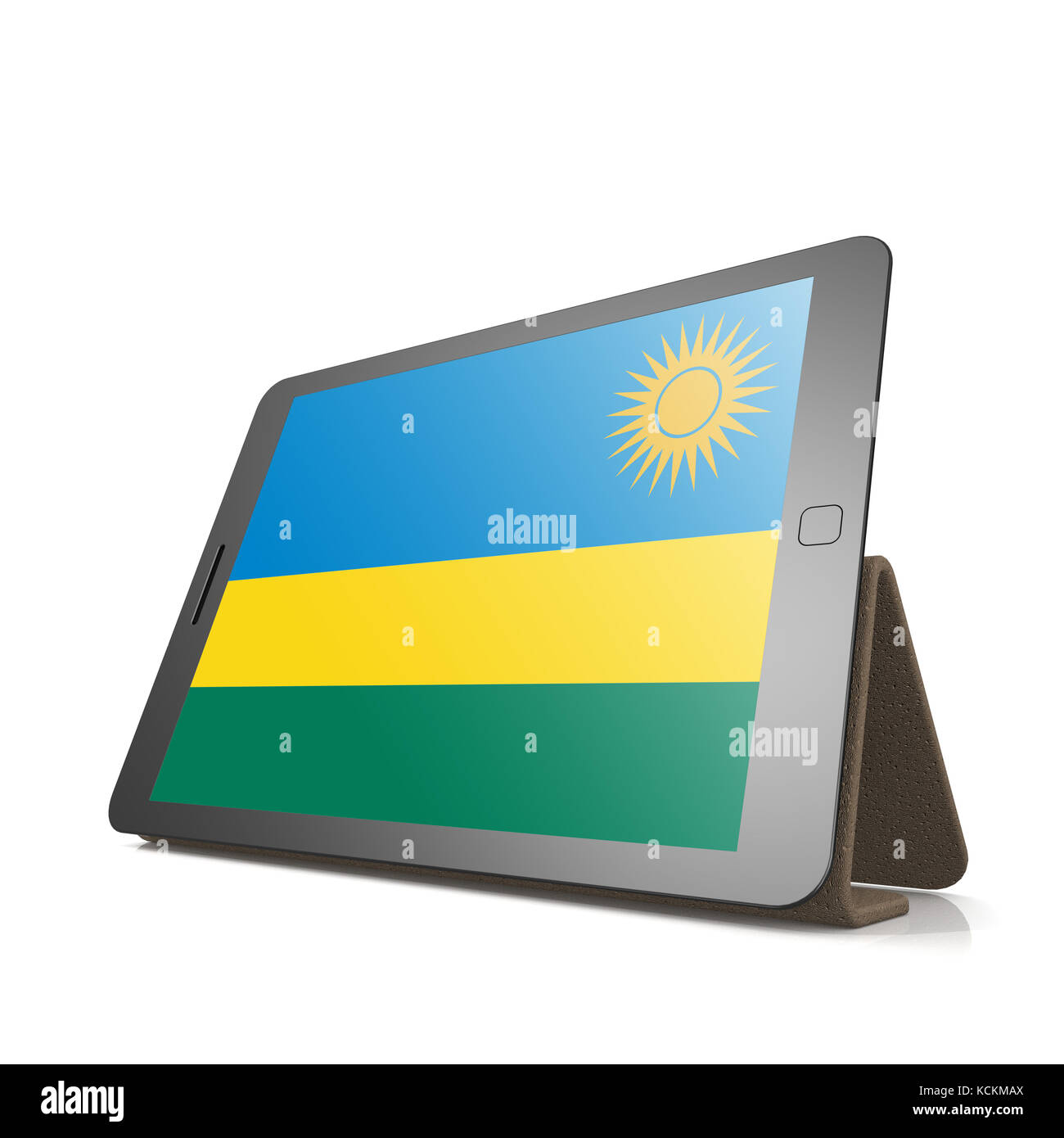 Tablet with Rwanda flag image with hi-res rendered artwork that could be used for any graphic design. - Stock Image
