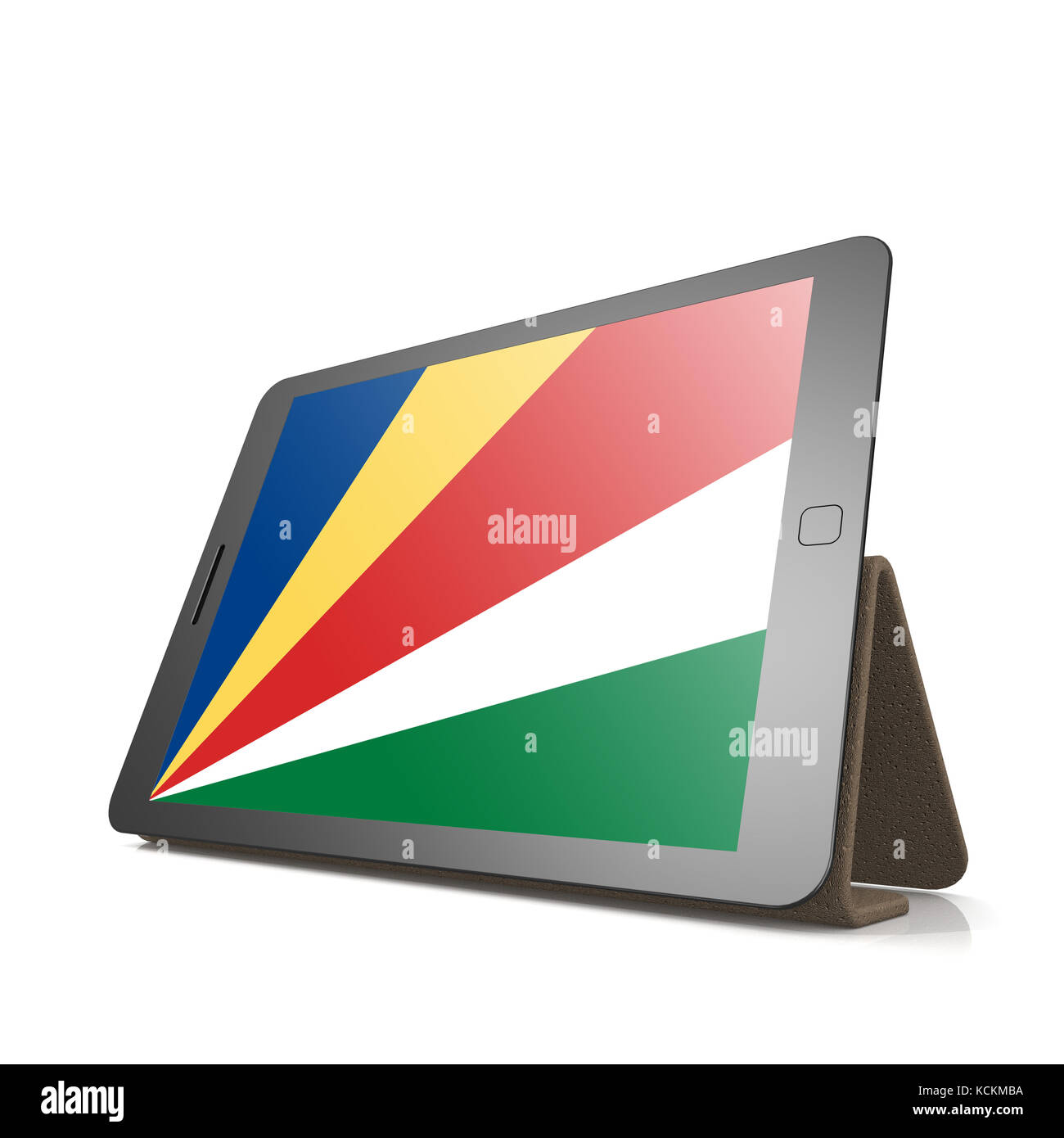 Tablet with Seychelles flag image with hi-res rendered artwork that could be used for any graphic design. - Stock Image
