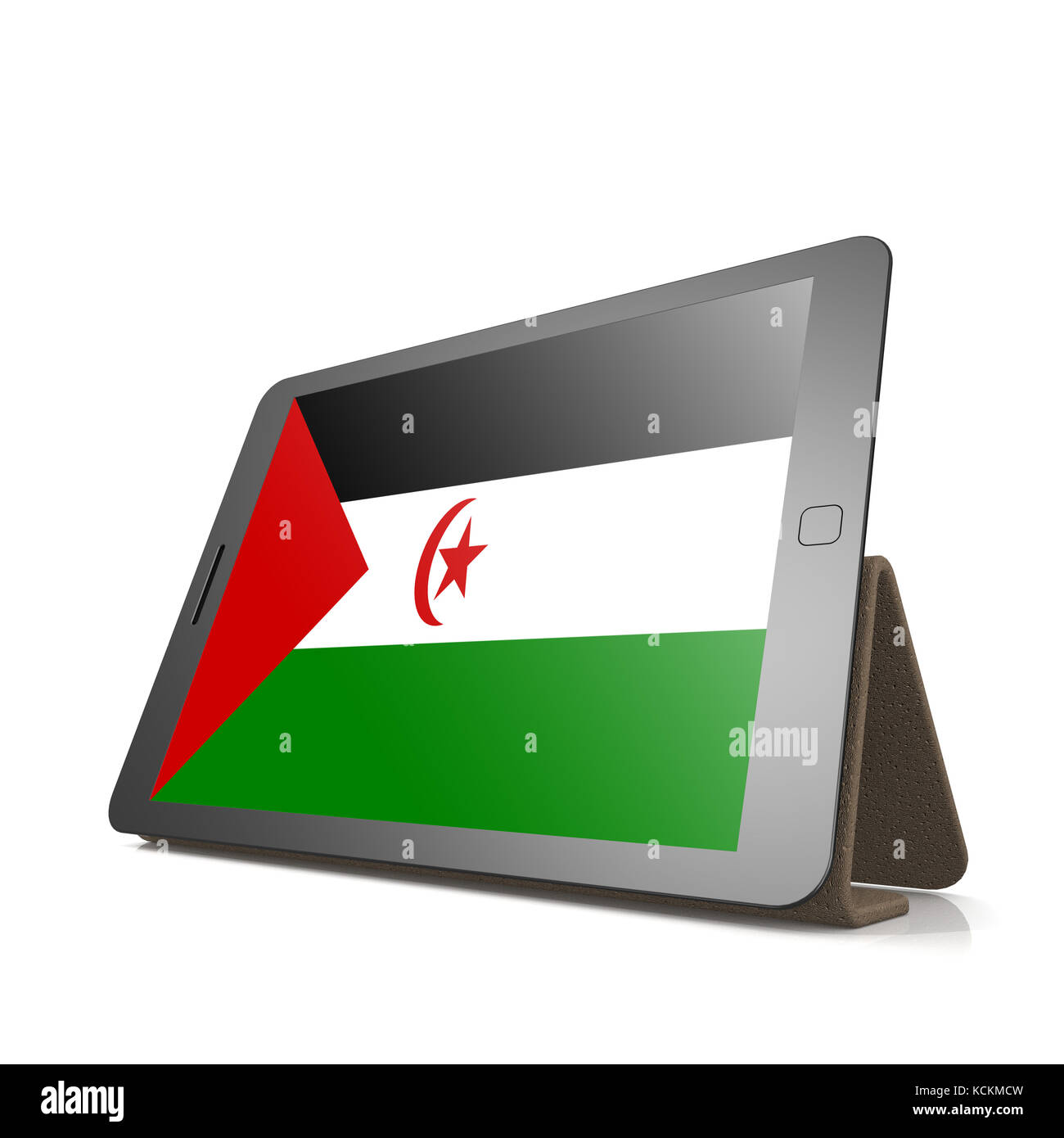 Tablet with Western Sahara flag image with hi-res rendered artwork that could be used for any graphic design. Stock Photo