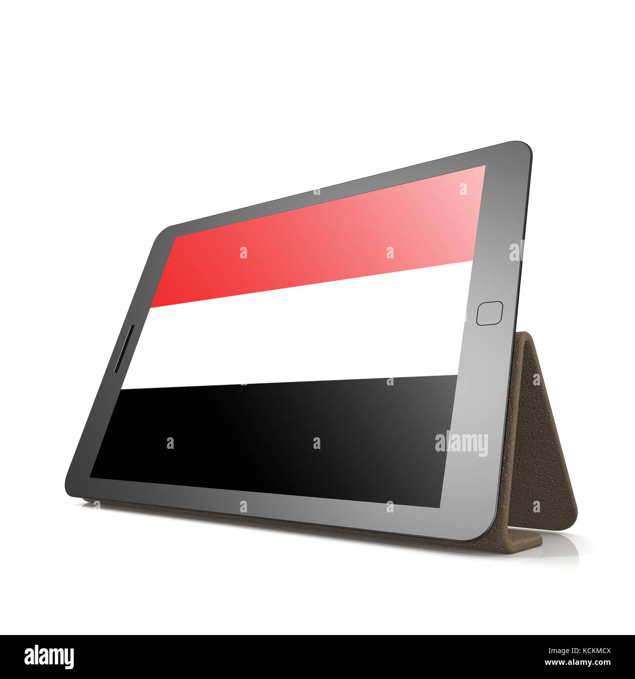 Tablet with Yemen flag image with hi-res rendered artwork that could be used for any graphic design. Stock Photo