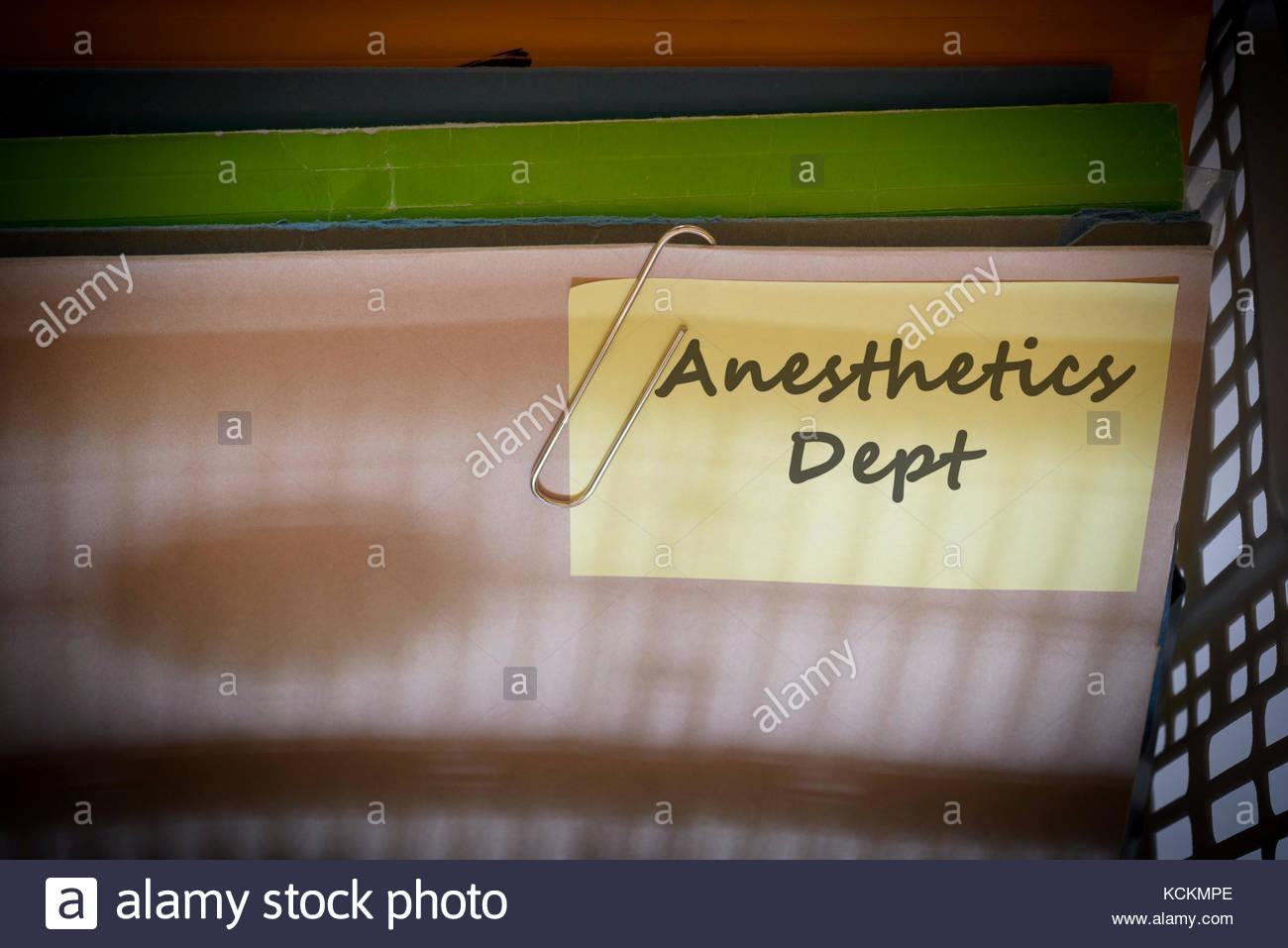 Anesthetics Dept written on document folder, Dorset, England. Stock Photo