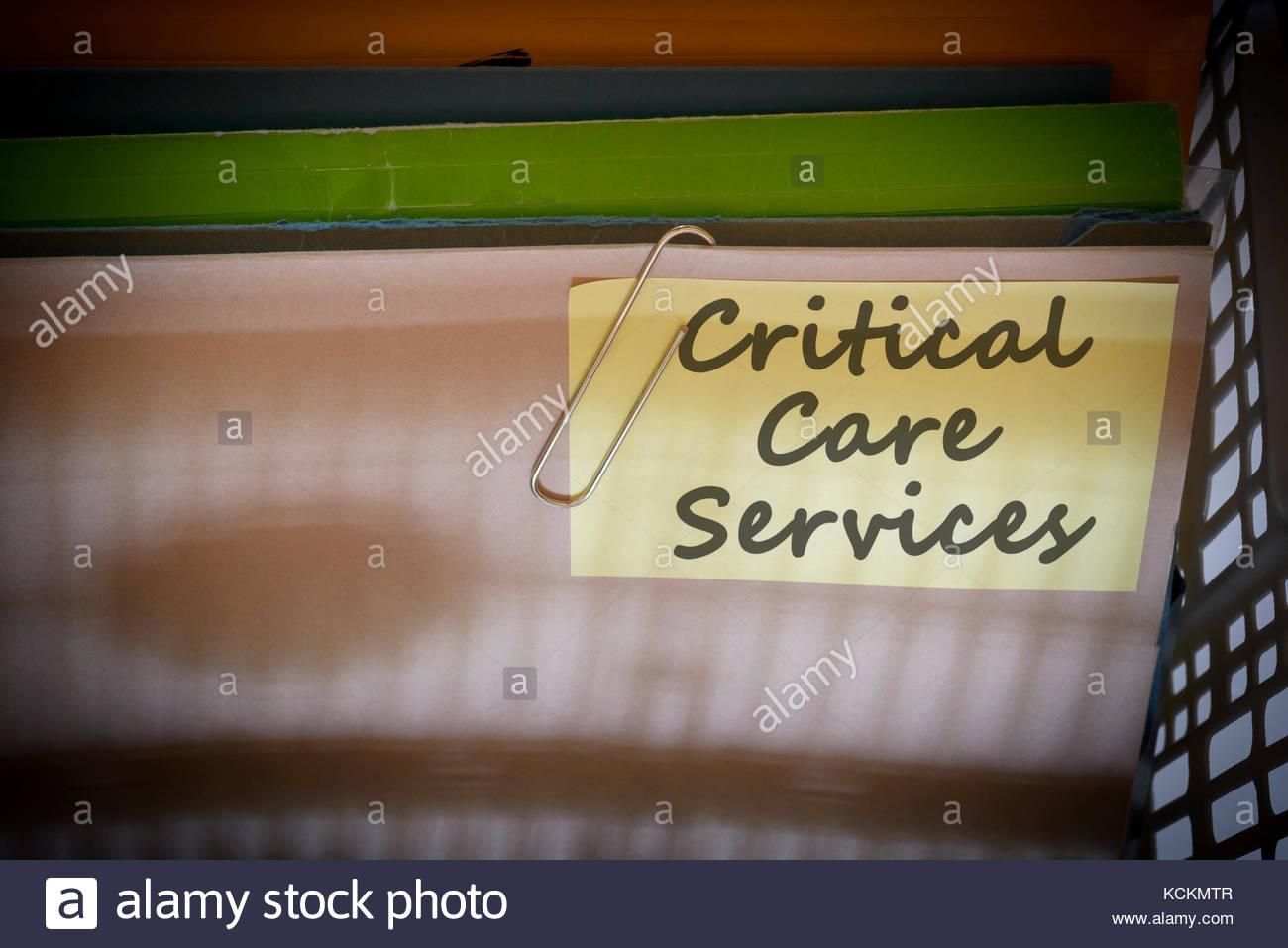 Critical Care Services written on document folder, Dorset, England. - Stock Image