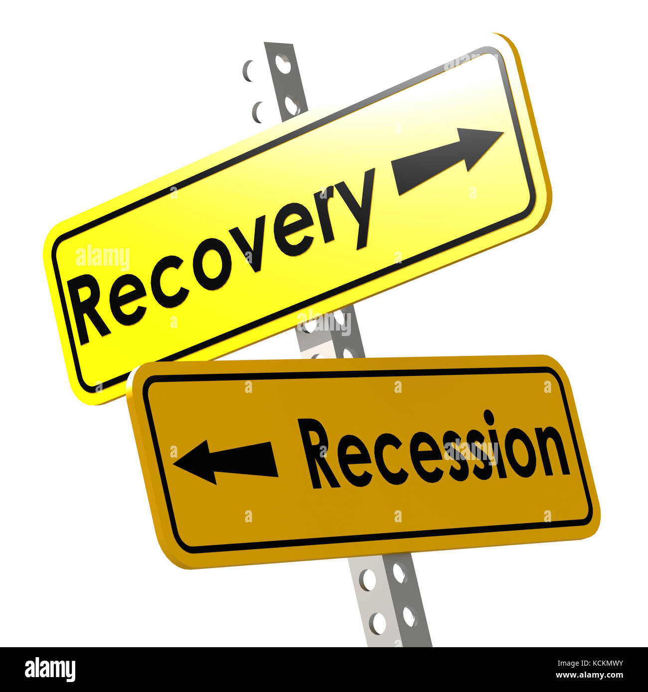 Recovery and recession with yellow road sign image with hi-res rendered artwork that could be used for any graphic - Stock Image