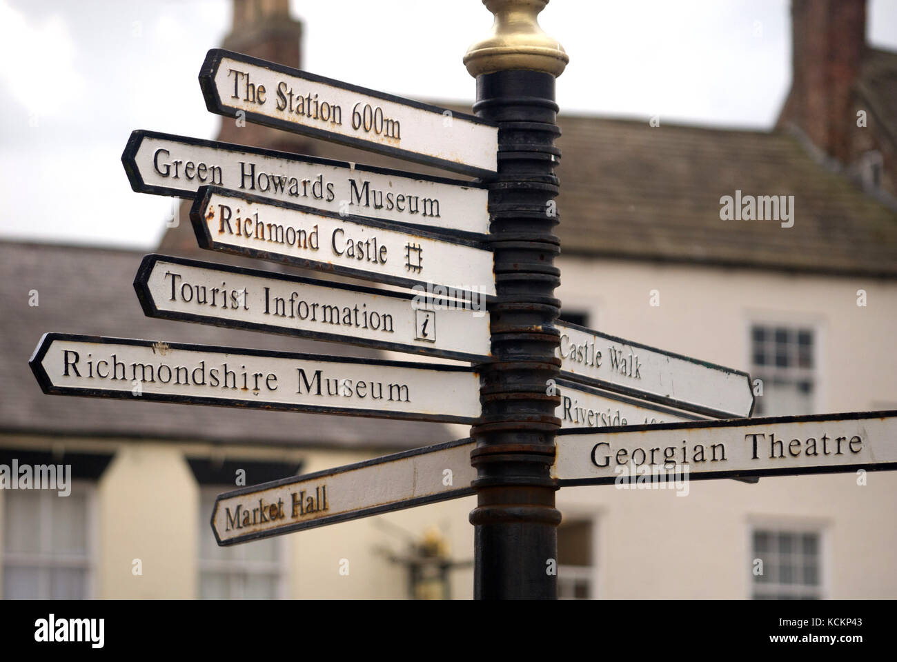 Tourist information sign, Richmond, North Yorkshire - Stock Image
