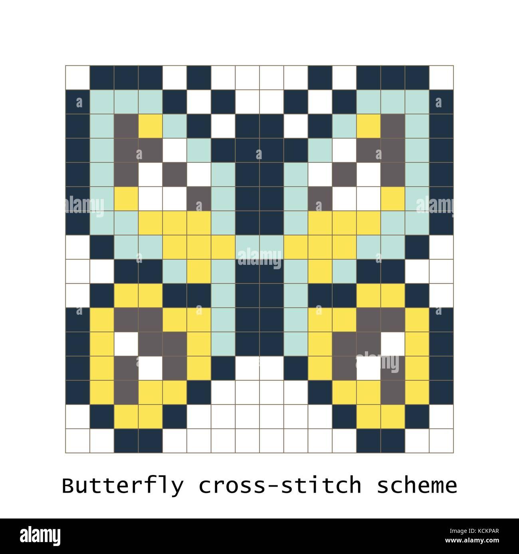 Cross Stitch Pixel Art Butterfly Vector Set Stock Vector Art