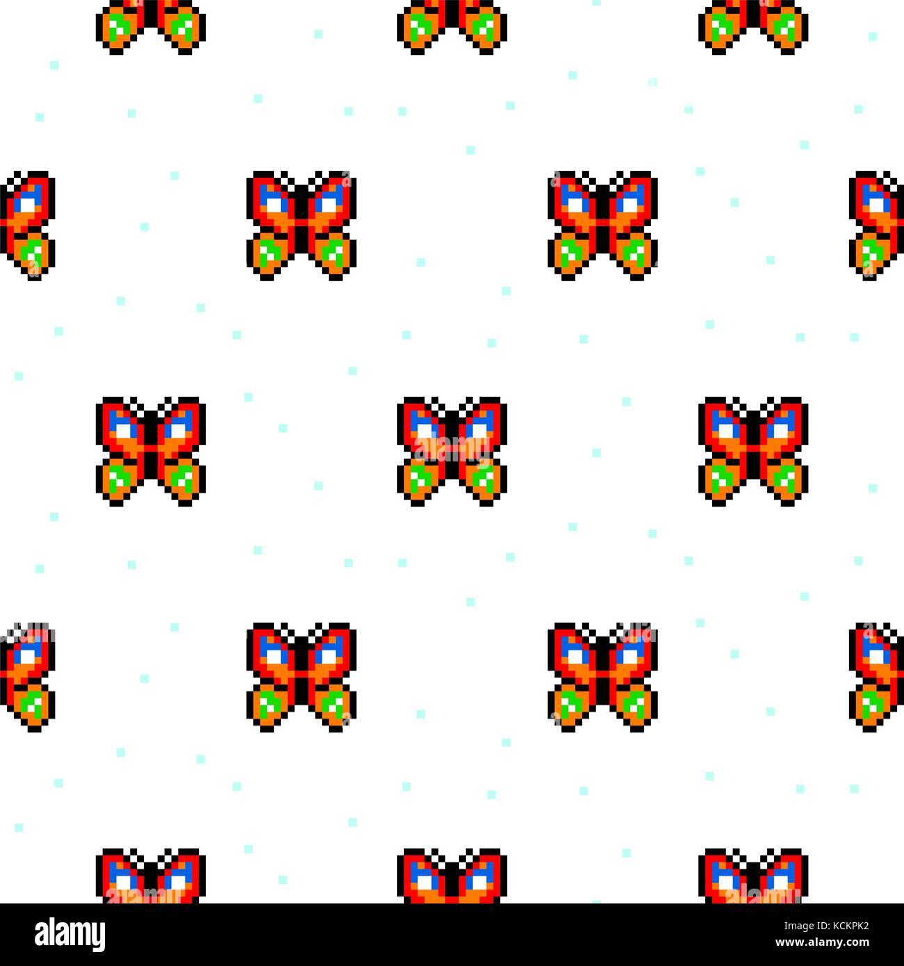 Bright Butterfly Cartoon Pixel Art Seamless Pattern Stock