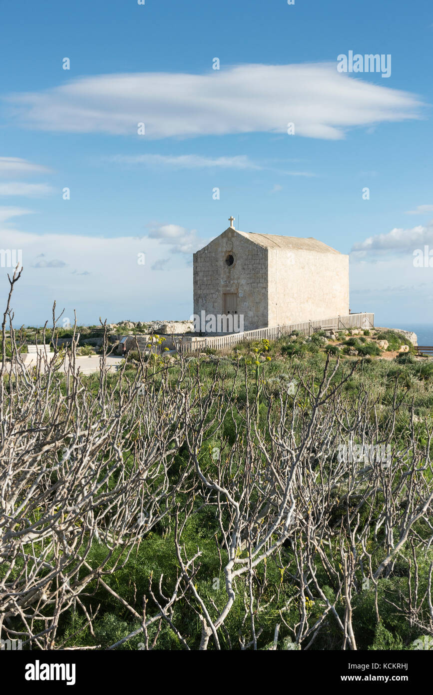 The Magdelene Chapel at the Dingli Cliffs on the south coast of Malta - Stock Image