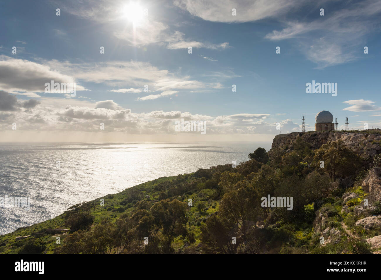 Dingli Radar dome at Dingli Cliffs Malta, part of te Maltese air traffic control system - Stock Image