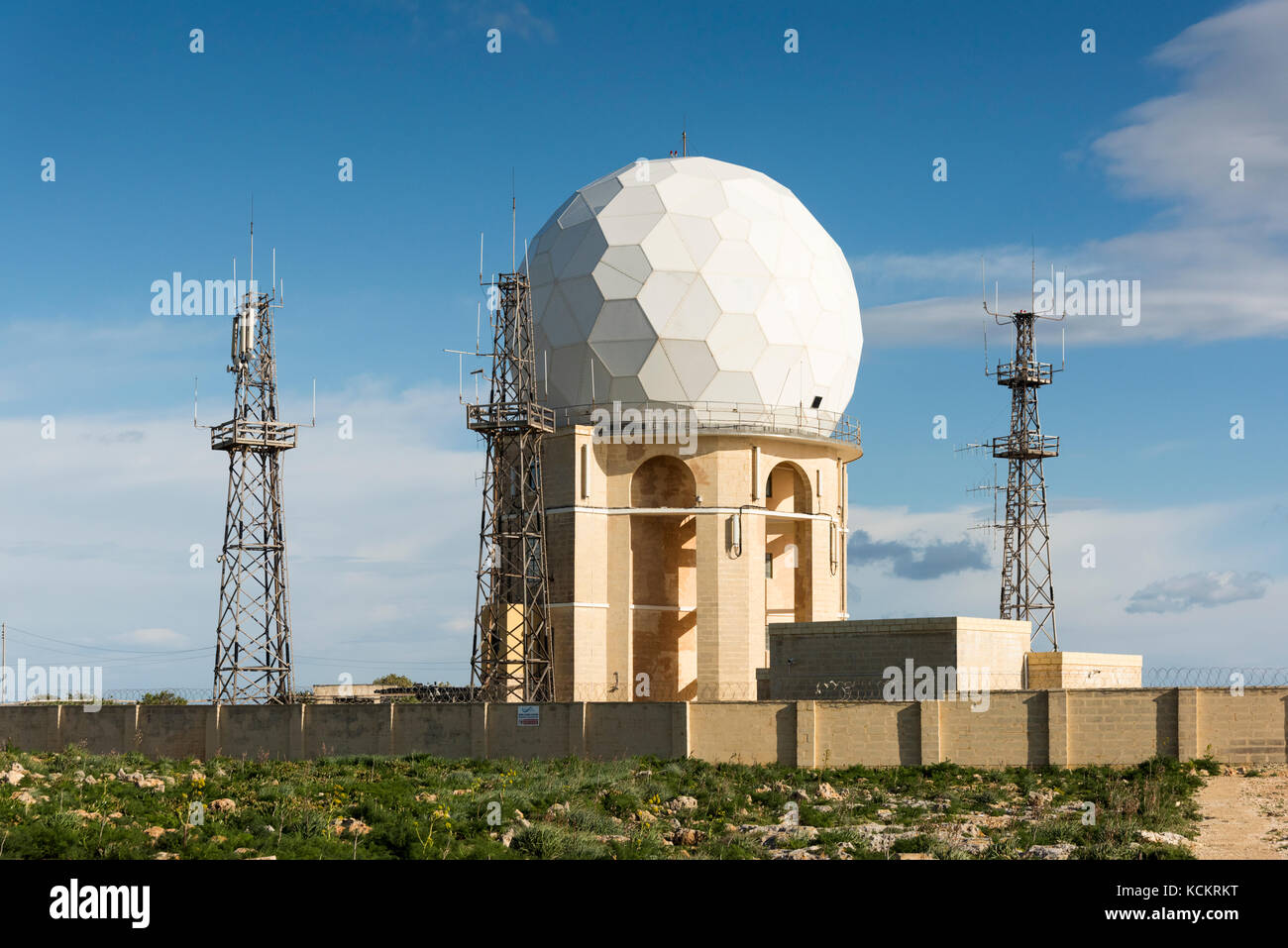Dingli Radar dome at Dingli Cliffs Malta, part of the Maltese air traffic control system - Stock Image