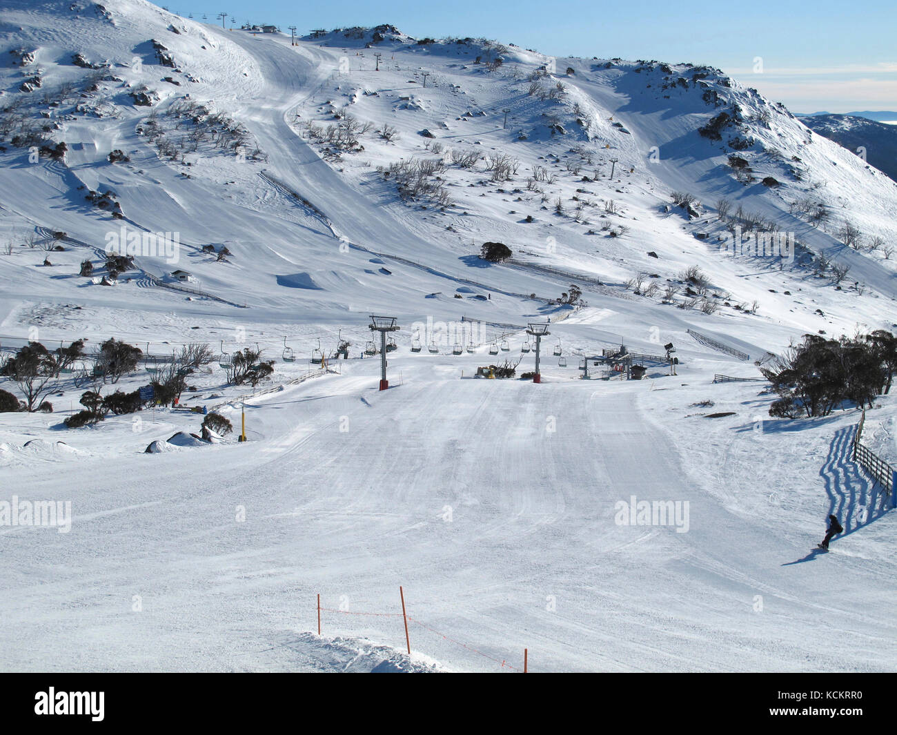 ski run at mount blue cow, part of the perisher ski resort in the