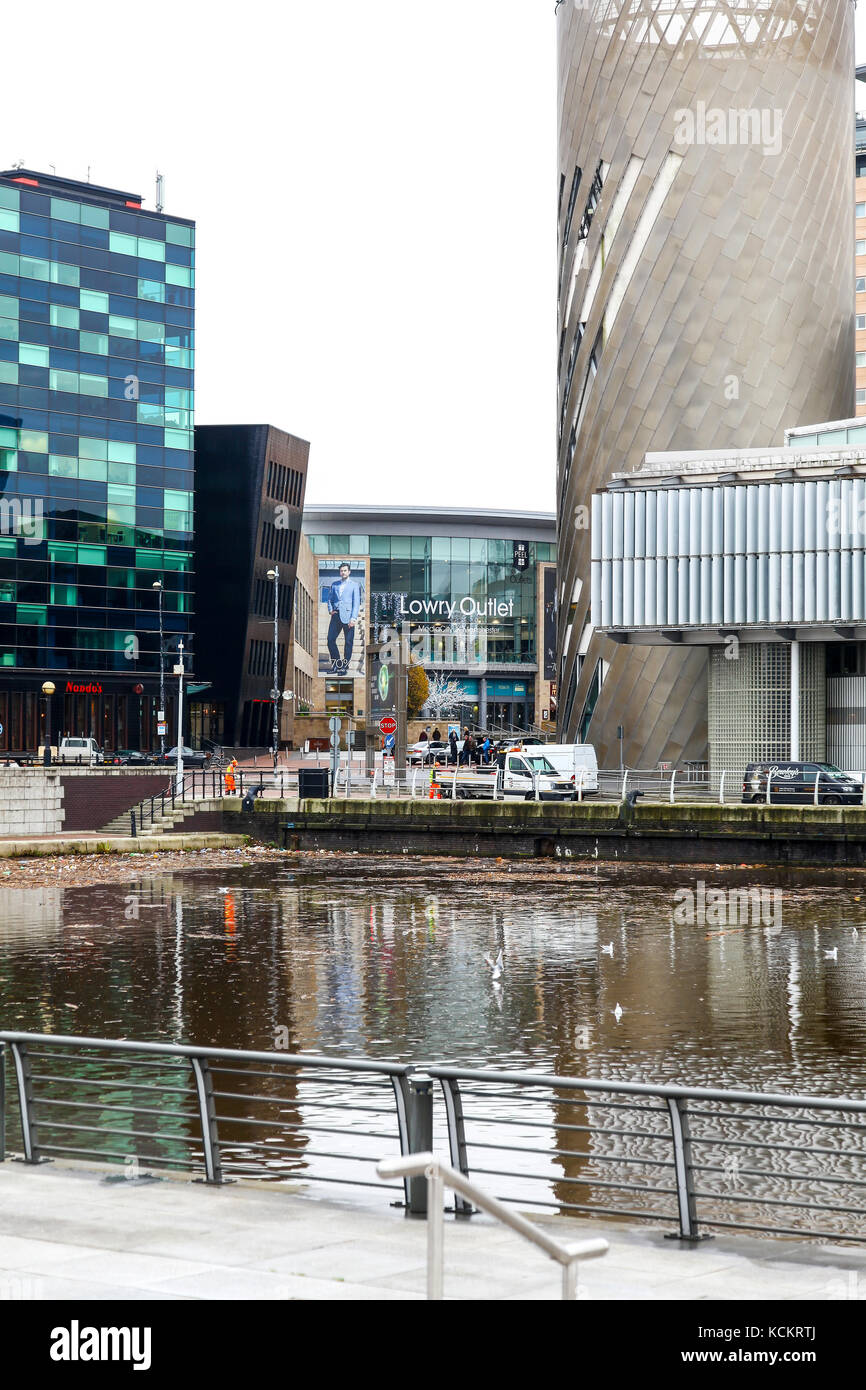 The Lowrey Outlet Centre at Media City UK on the banks of the Manchester Ship Canal in Salford and Trafford, Greater - Stock Image