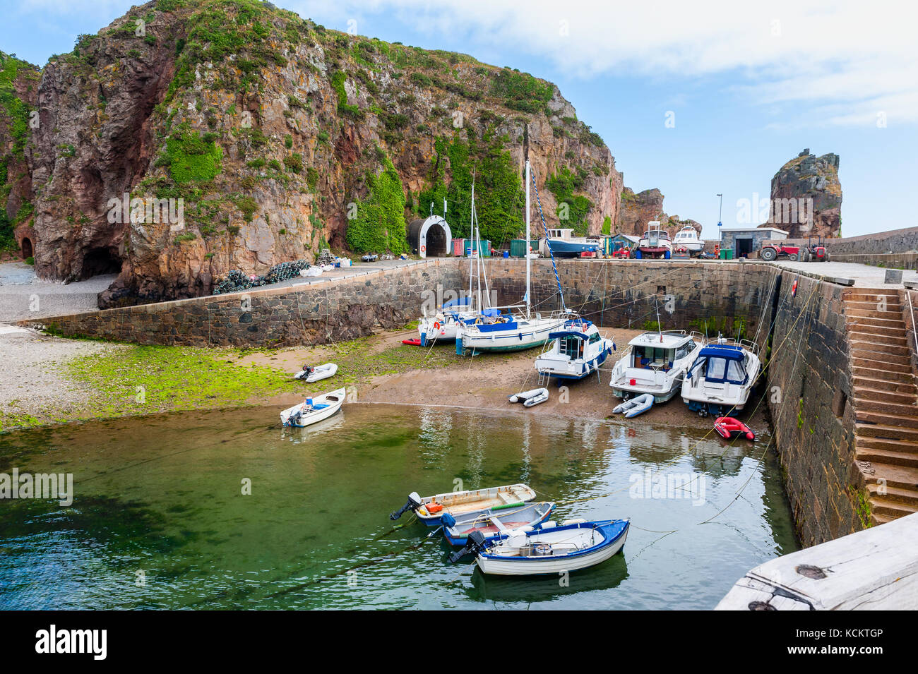 Small Harbor on Sark, Channel Islands, UK - Stock Image