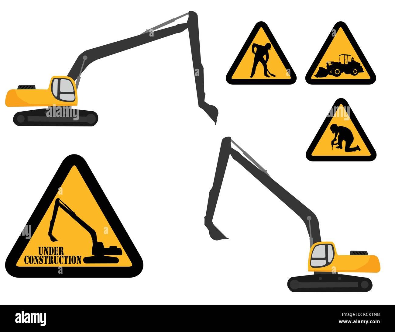excavator nad 'under construction' signs - vector - Stock Vector