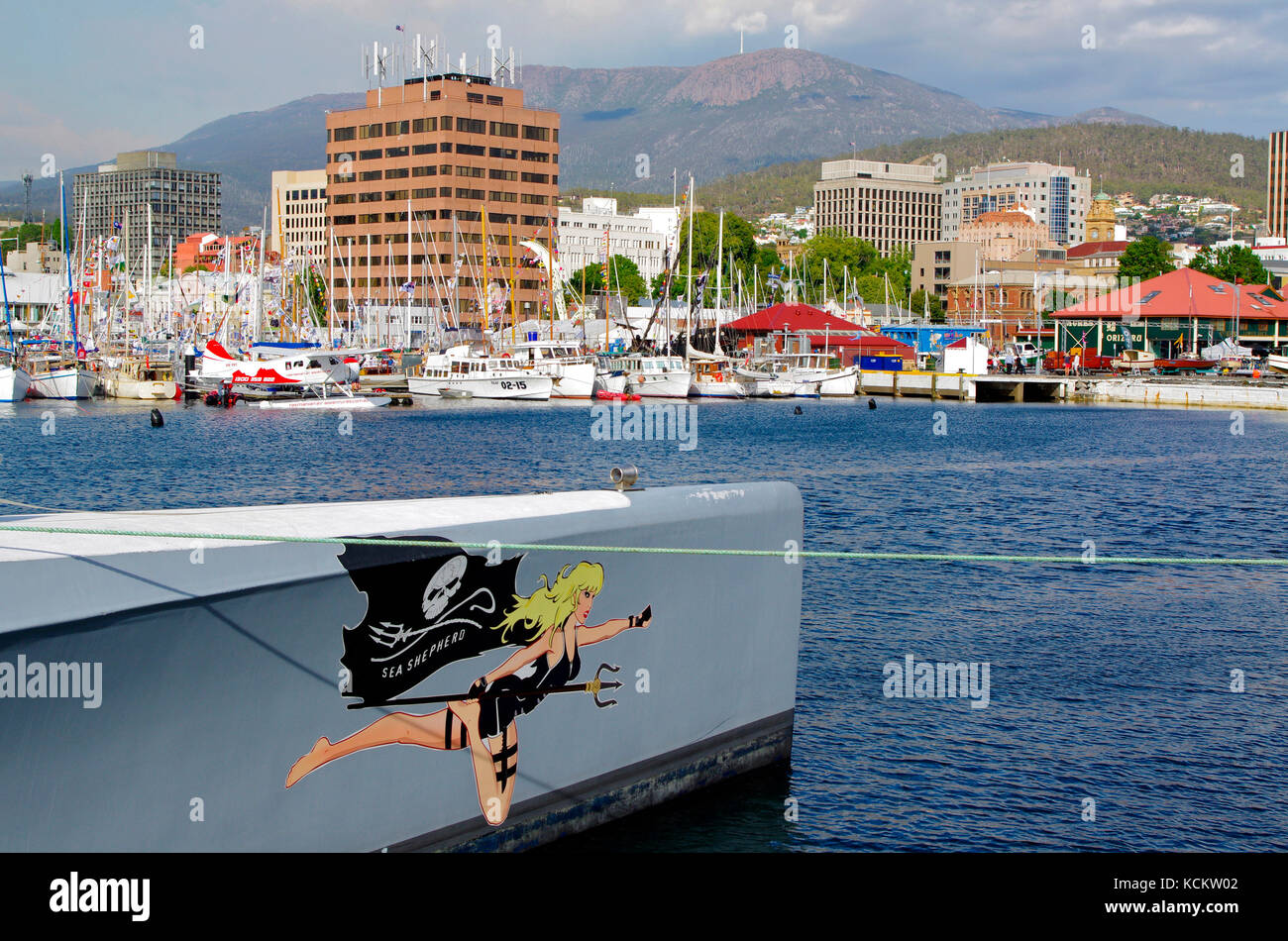 Bow of the MV Brigitte Bardot, trimaran taking time to recuperate and resupply during the Sea Shepherd Conservation - Stock Image