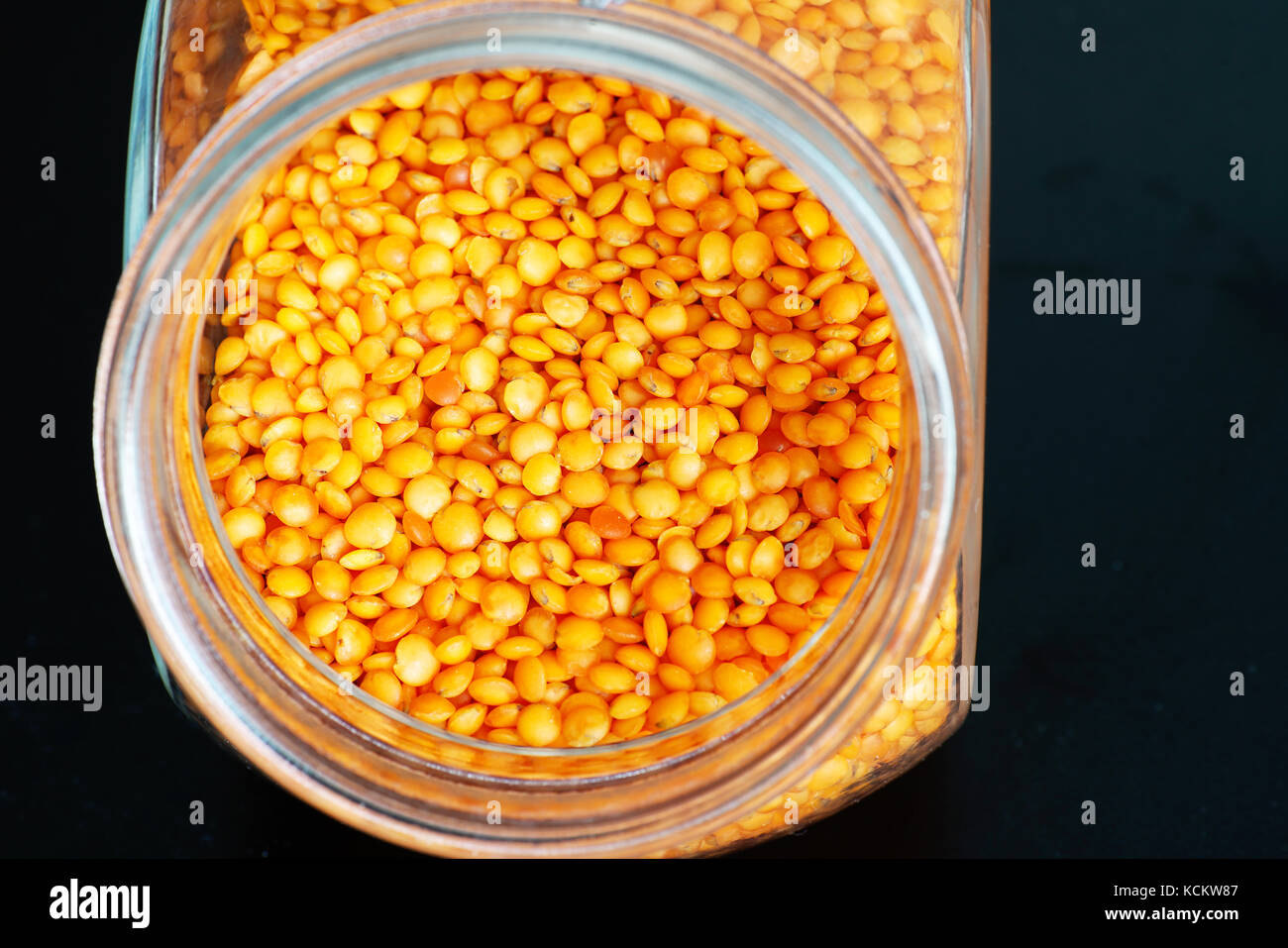 Vegetarian food in the glass for cooking, seasoning and refining - Stock Image
