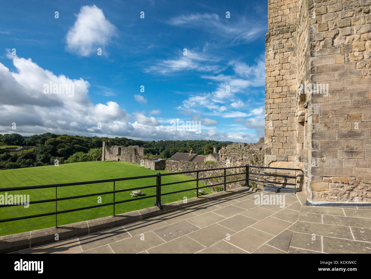 View from the castle keep at Richmond Castle, North Yorkshire, England. - Stock Image