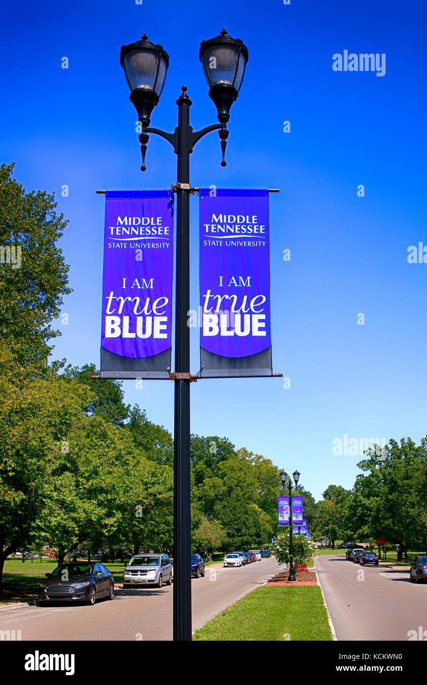 Banners hanging from the street lights on Old Main Cir on the Middle Tennessee State University campus in Murfreesboro - Stock Image