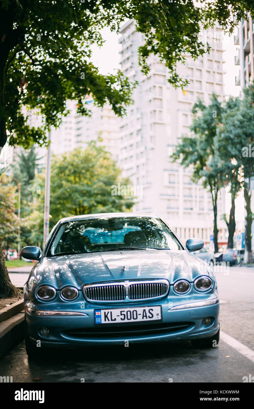 Batumi, Adjara, Georgia - September 7, 2017: Jaguar X-type Car Parked In Street. X-type Is An Entry-level Luxury - Stock Image