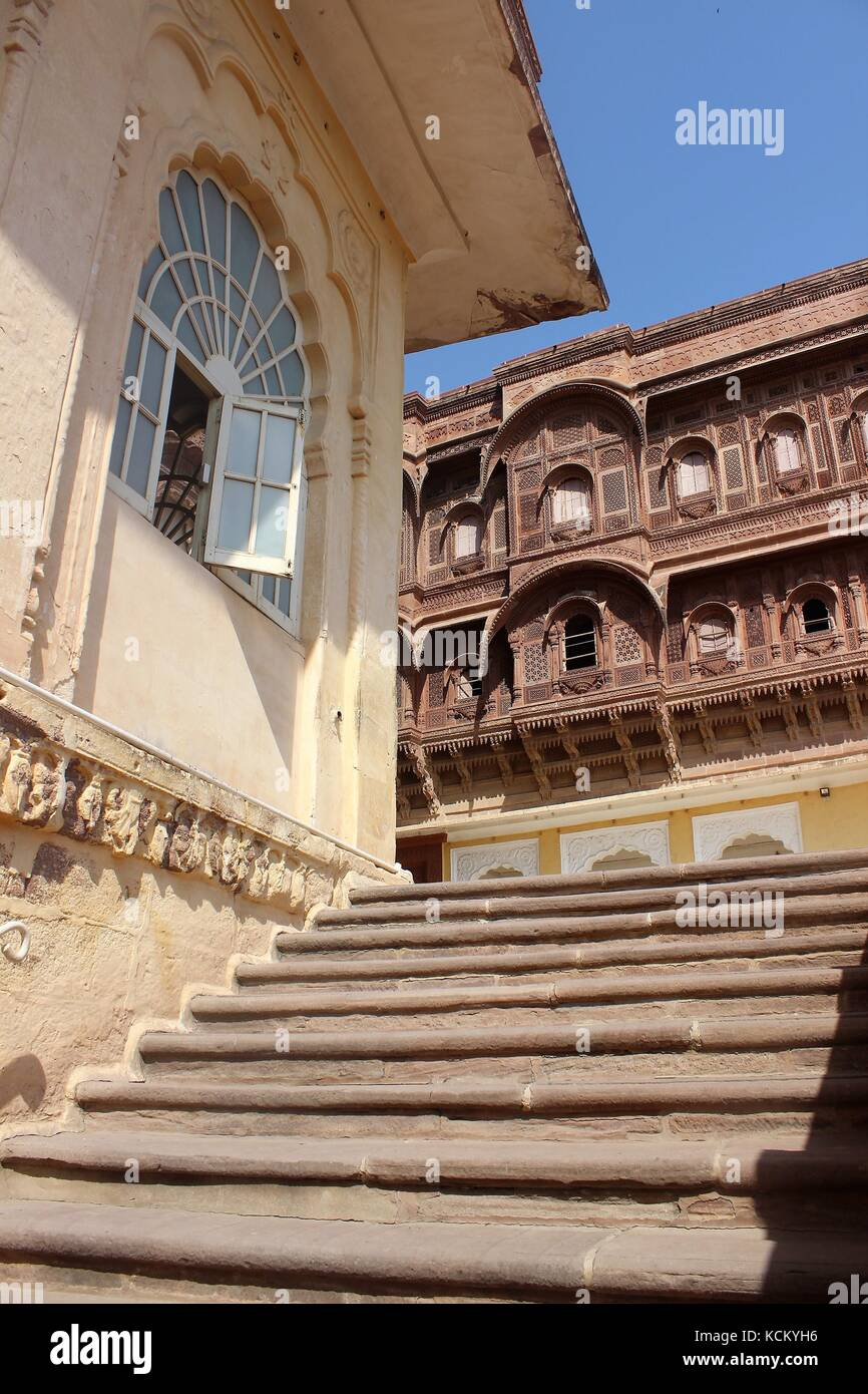 Mehrangarh Fort exterior details India - Stock Image