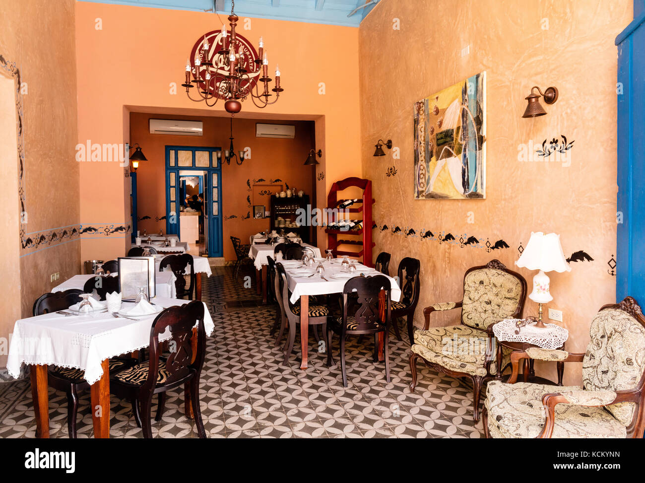 Room displaying beautiful antique furniture  in the Museo Romantico, Plaza Mayor, Trinidad, Cuba,Caribbean - Stock Image