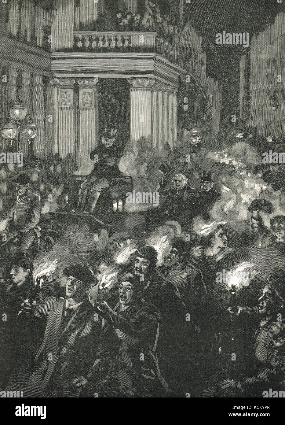 John Bright torchlight procession in Birmingham 1883, in celebration of 25 years as Birmingham's MP - Stock Image