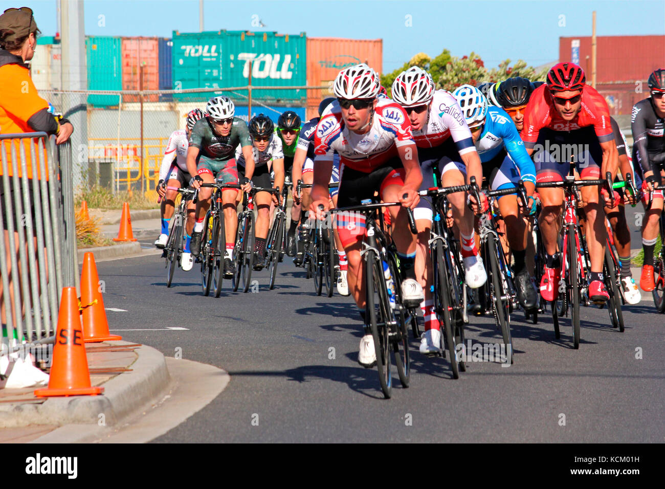 Criterium event in Burnie on New Year's Eve during the summer cycle racing carnival. Northwestern Tasmania, Australia Stock Photo