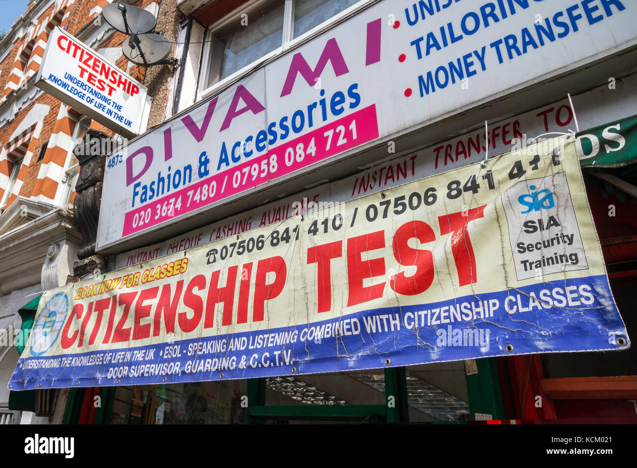 UK Citizenship test and classes advertised on a high street in South East London. - Stock Image