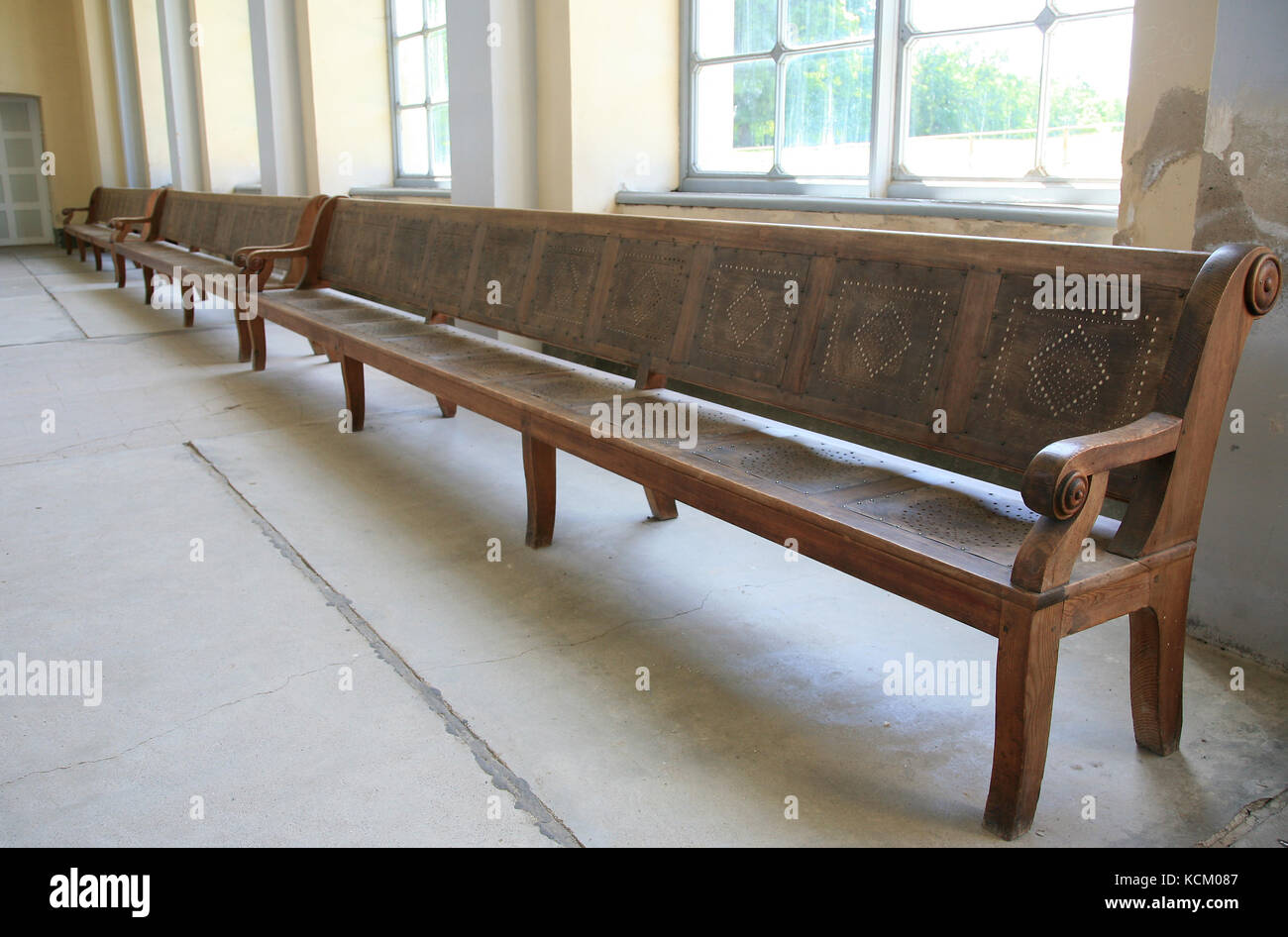 Prime Long Antique Wooden Bench In A Church Stock Photo 162708455 Caraccident5 Cool Chair Designs And Ideas Caraccident5Info