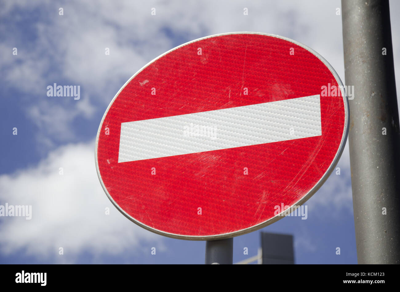 no entry street sign close up - Stock Image