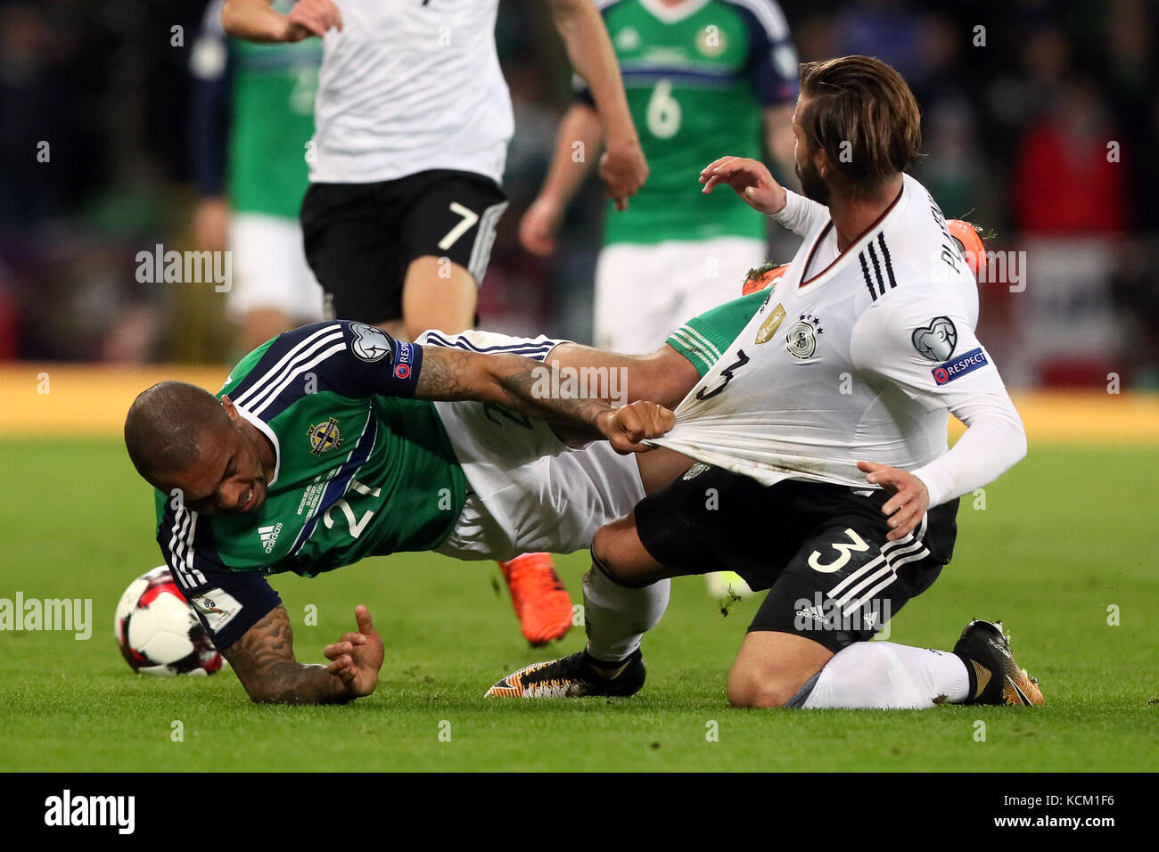 8fe92f4529 Northern Ireland s Josh Magennis (left) and Germany s Marvin Plattenhardt  battle for the ball during the 2018 FIFA World Cup Qualifying