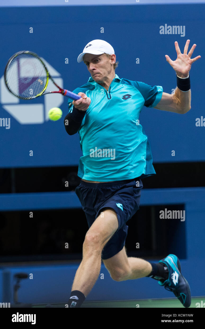 Kevin Anderson (RSA) competing in the Men's Semi-Finals at the 2017 US Open Tennis Championships. Stock Photo