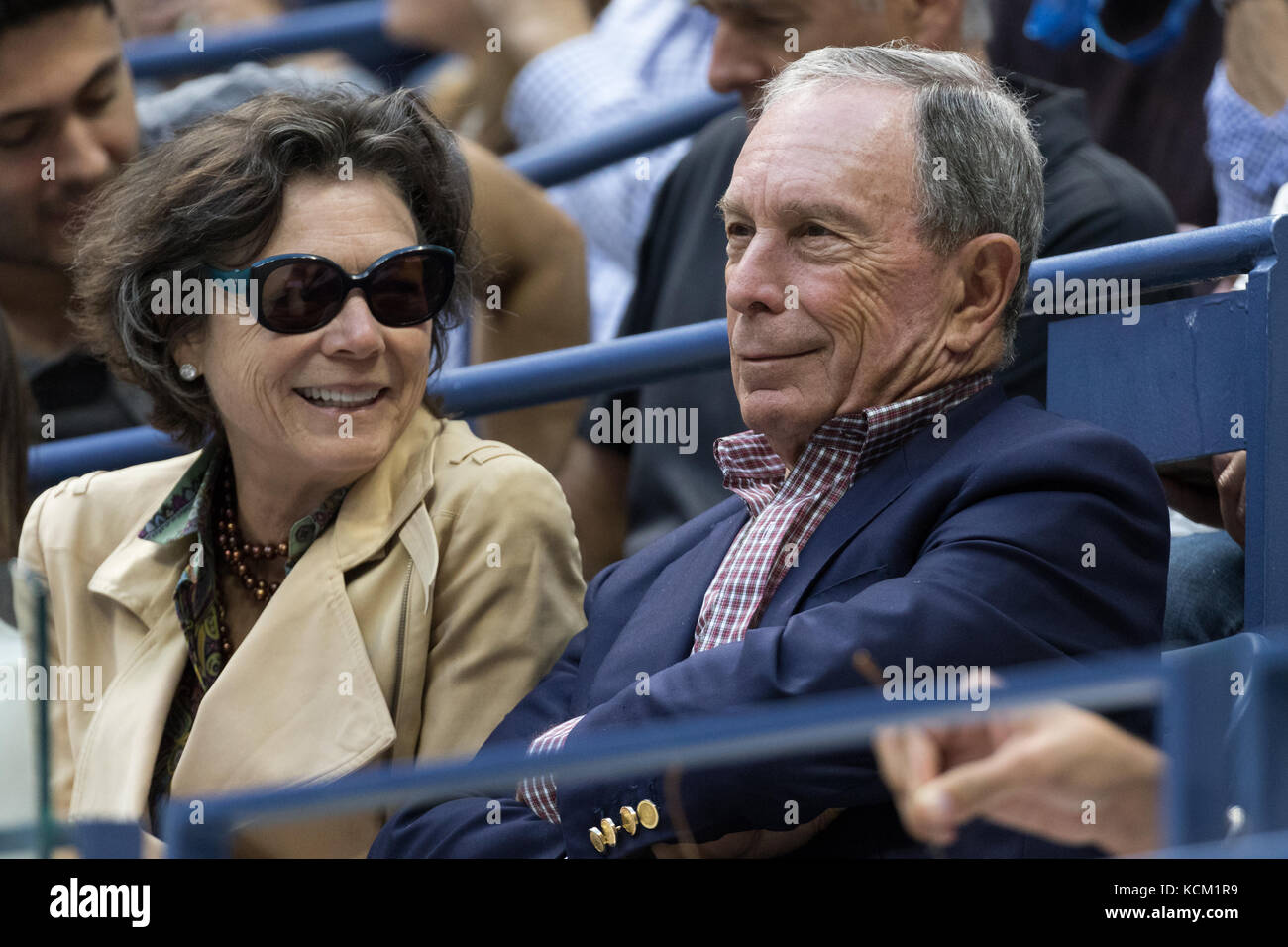Michael and Diana Taylor Bloomberg watching the Men's Semi-Finals at the 2017 US Open Tennis Championships. - Stock Image