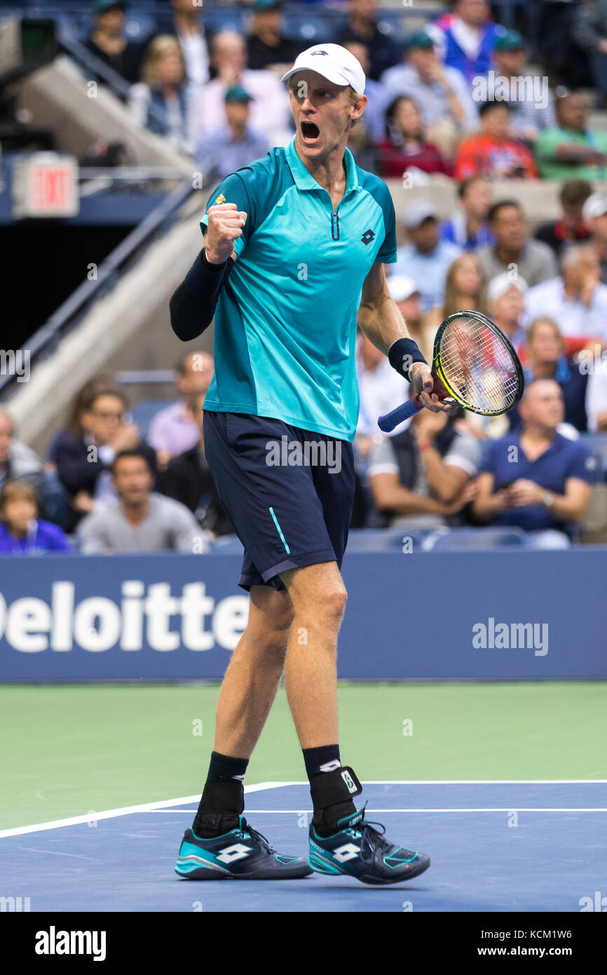 Kevin Anderson (RSA) competing in the Men's Semi-Finals at the 2017 US Open Tennis Championships. - Stock Image
