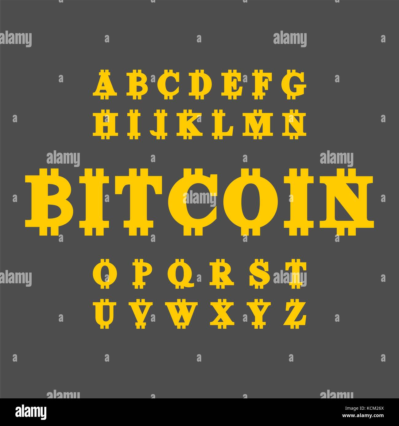 Bitcoin font. Cryptocurrency alphabet. Web money letter ...