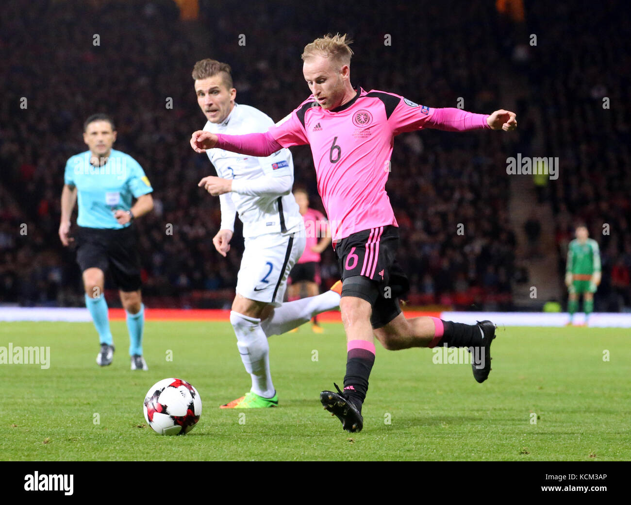 Scotland S Barry Bannan Right And Slovakia Peter Pekarik Battle For The Ball During 2018 Fifa World Cup Qualifying Group F Match At Hampden Park