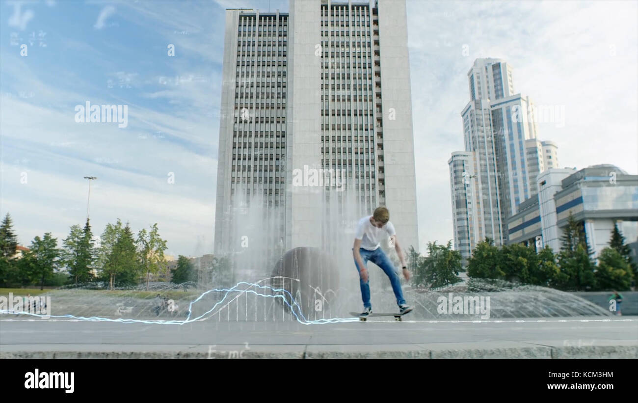 Skateboarder doing trick in mid air, grunge background with animation. Teen boy does tricks in the half pipe at Stock Photo
