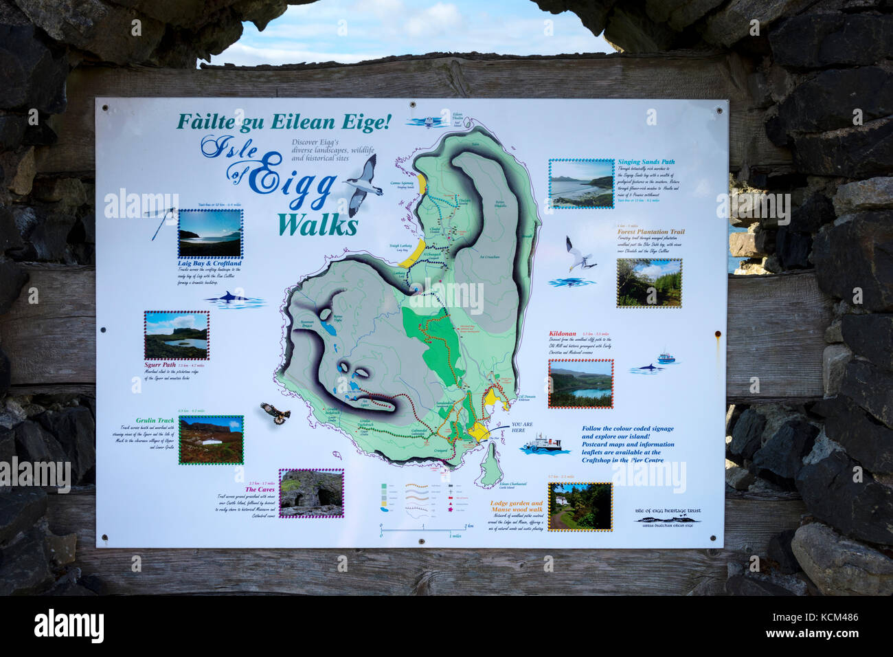 Visitor Information Sign With Map Galmisdale On The Isle Of Eigg