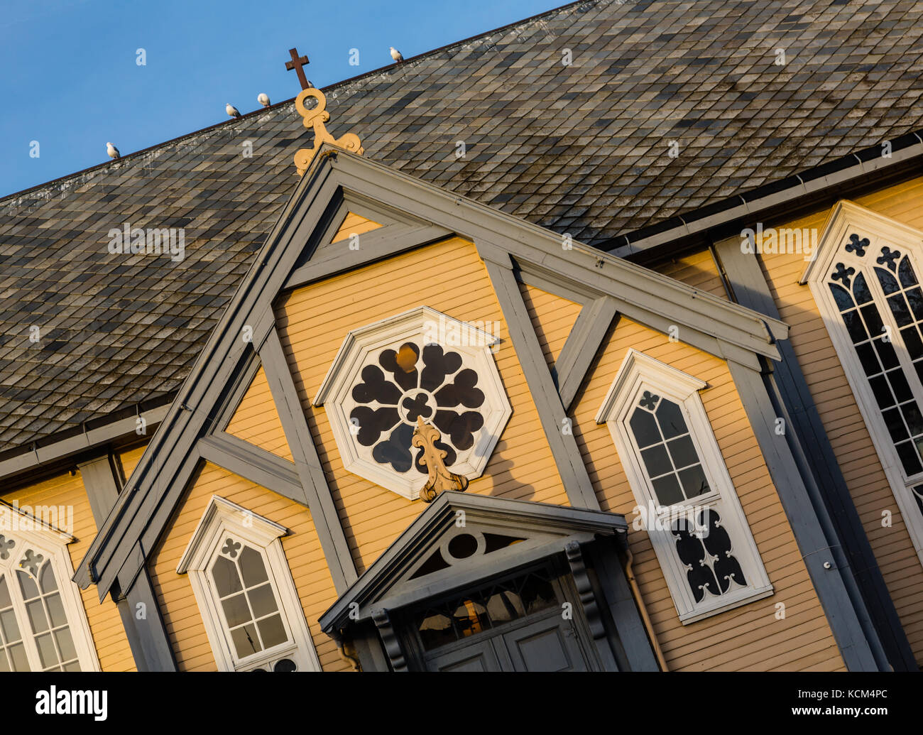 Tromso Cathedral, Norway.  A large wooden church of the late Gothic period - Stock Image