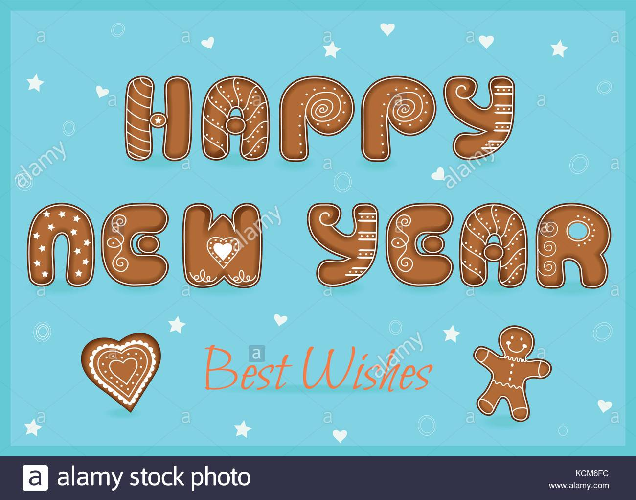 festive inscription with gingerbread letters happy new year best wishes heart and gingerbread man unusual sweet font with white decor vector illu