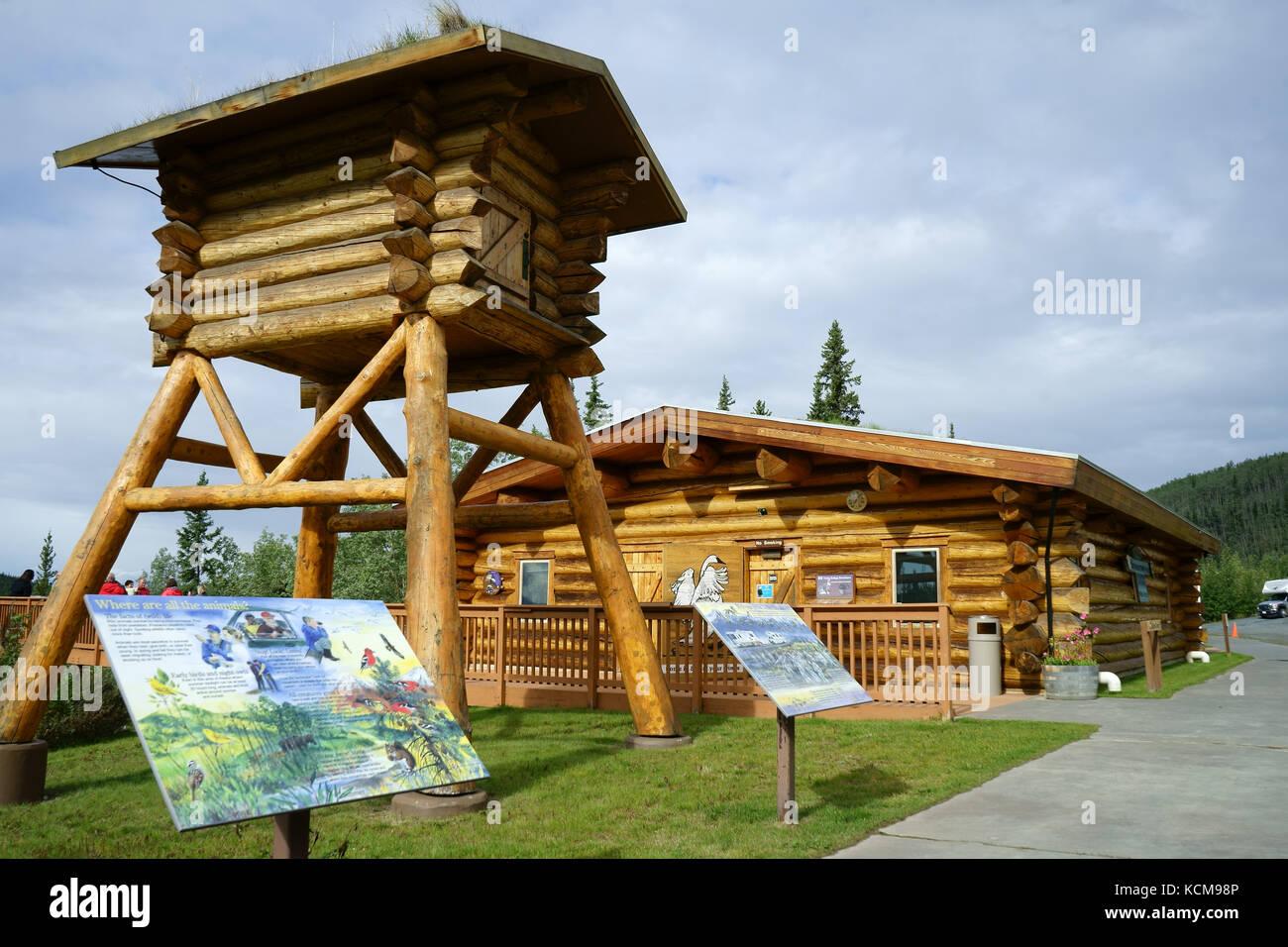 Tetlin Ntl. WEildlife refuge visitor center along Alaska Highway, Alaska - Stock Image