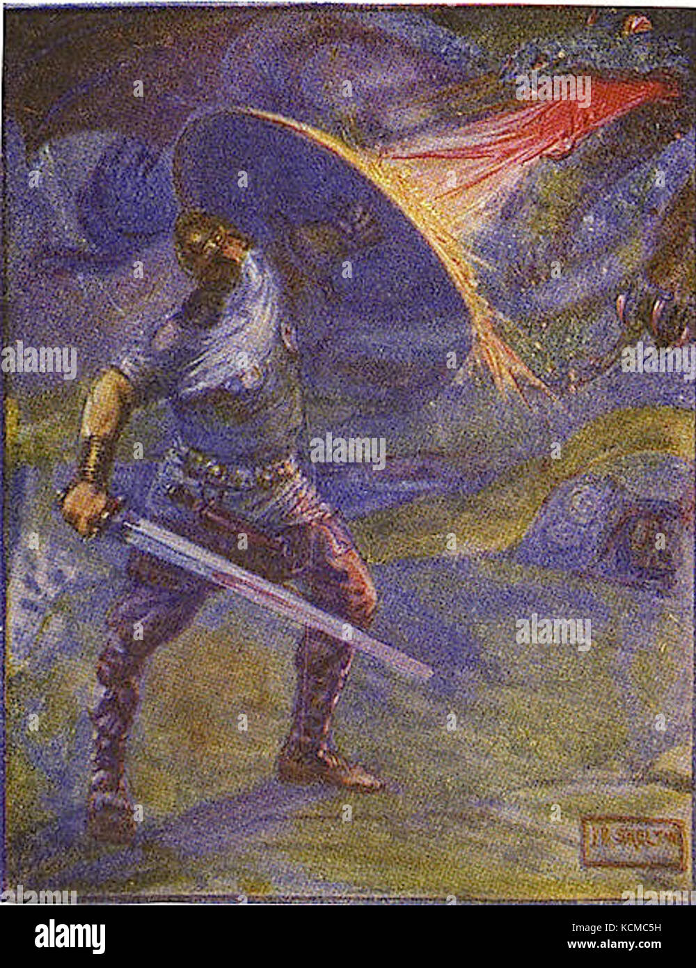 Beowulf and the dragon - Stock Image
