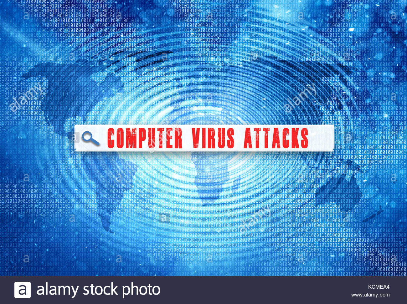 Abstract world map with binary numbers on spin wave effect with red color computer virus attacks words search toolbar - Stock Image