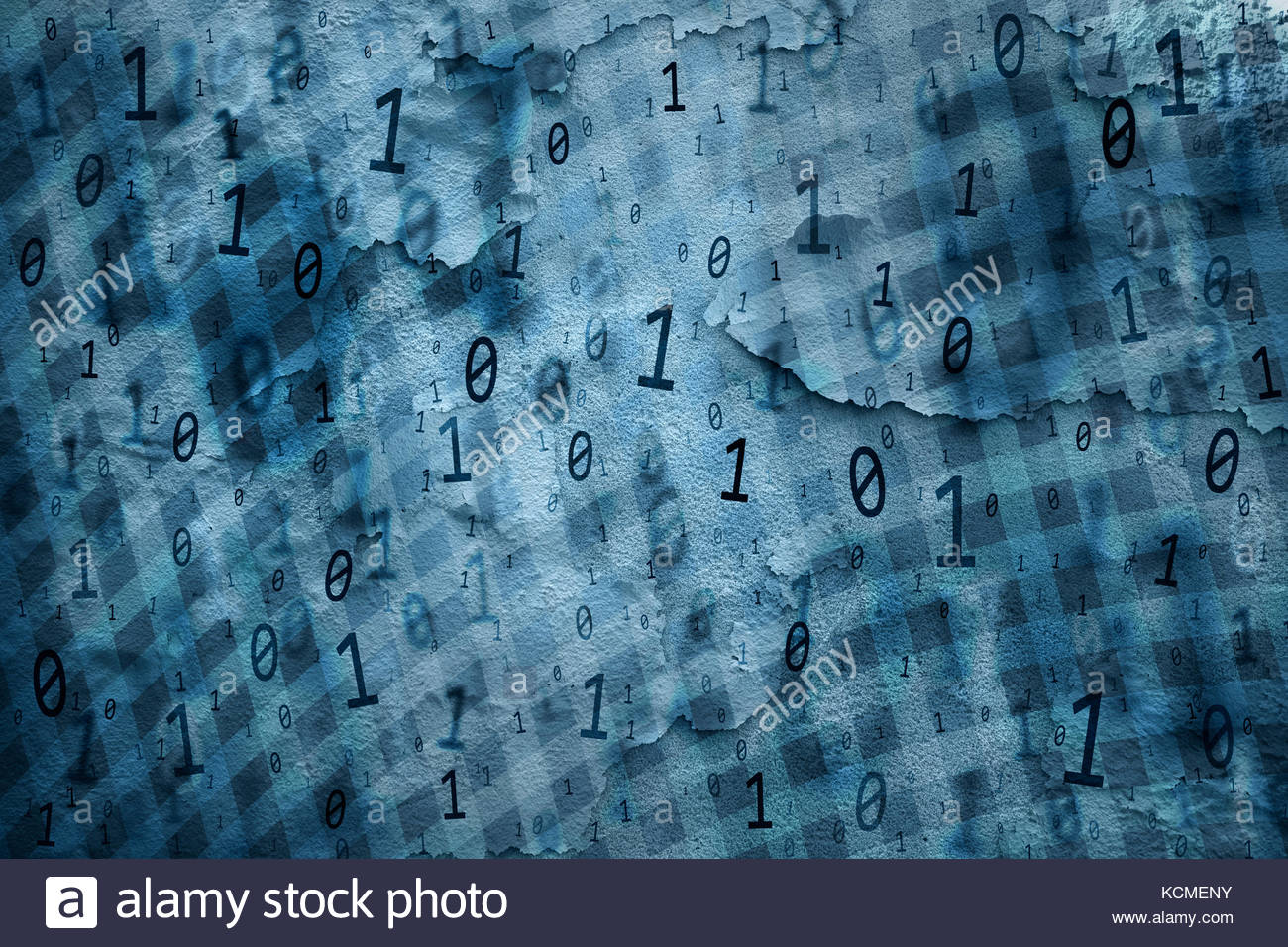 Turquoise blue colored binary numbers data on cracked and damaged background. Safety concept copy space background. - Stock Image