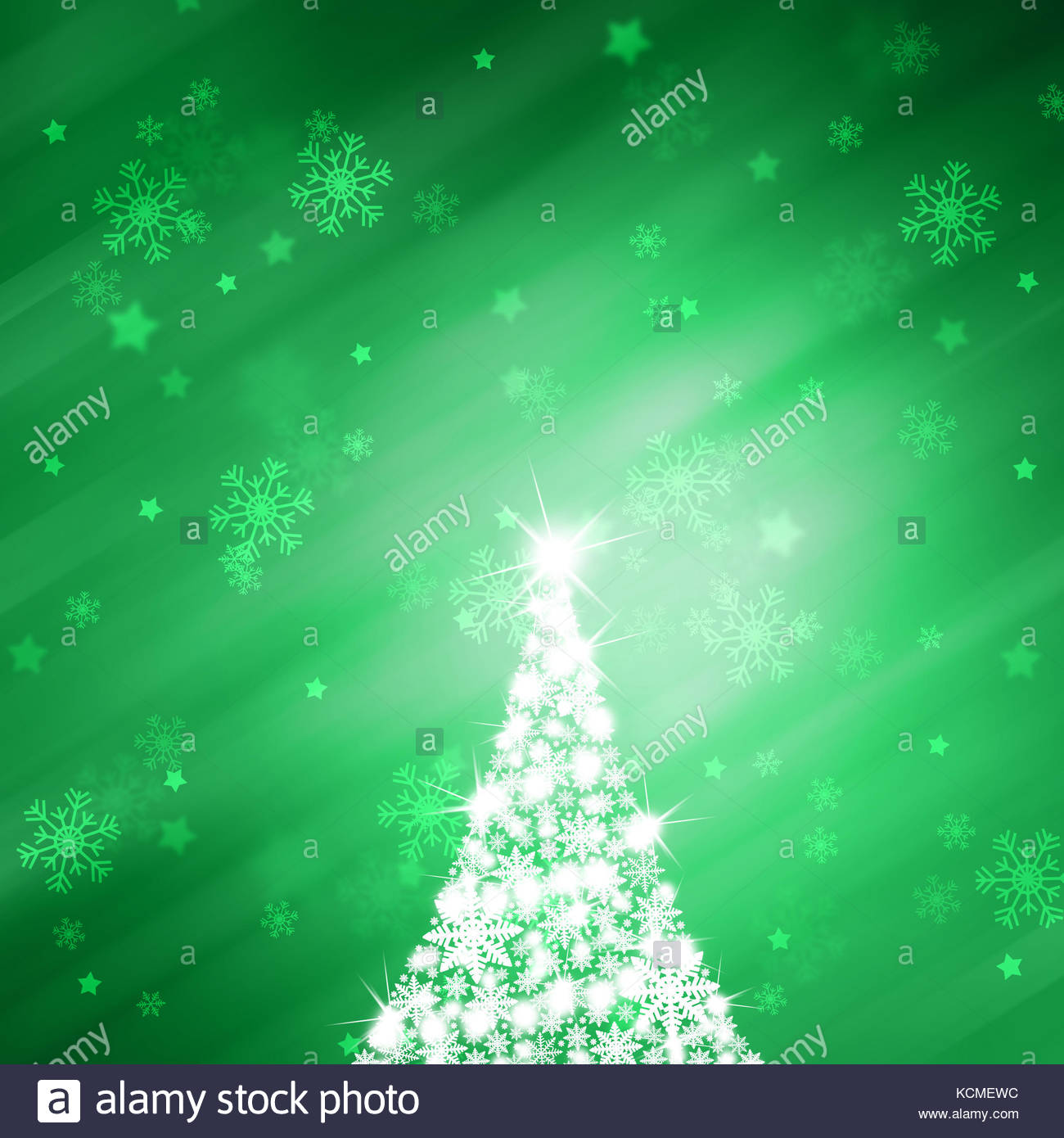 Christmas Green Color.Illustrated Snowflake Christmas Tree With Sparkle And