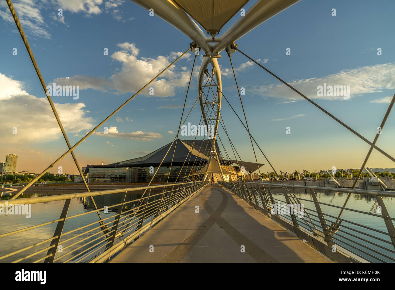 the Town lake Pedestrian Bridge over the Salt River in Tempe Arizona near the Tempe Center for Arts. - Stock Image